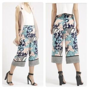 Topshop Japanese Floral Border Print Culottes